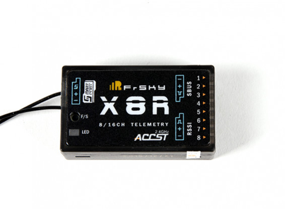 FrSky X8R 8/16Ch S Bus ACCST Telemetry Receiver W/Smart Port (no antenna  cover)