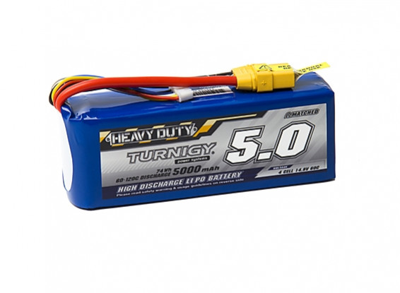 Turnigy Heavy Duty 5000mAh 4S 60C Lipo Pack w/XT-90
