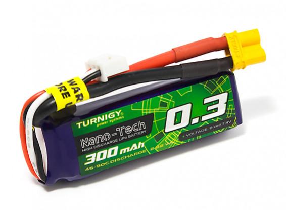 Turnigy Nano-Tech 300mAh 2S 45C Lipo Pack w/XT30