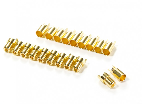 6mm HXT Gold Plated Solder Type Battery/Motor Connectors (10 pairs)