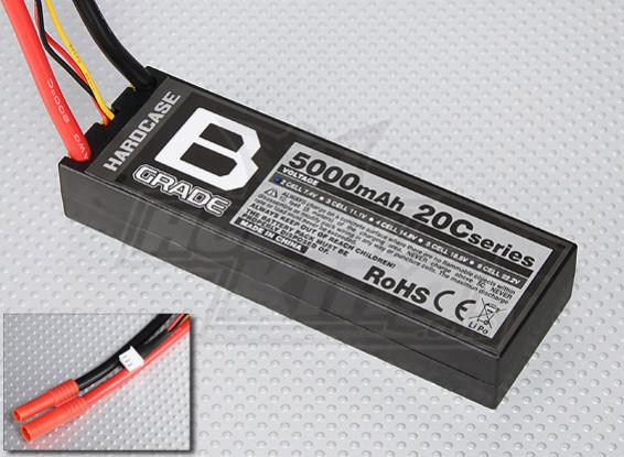 B-Grade 5000mAh 2S 20C Hardcase Lipoly Batteria