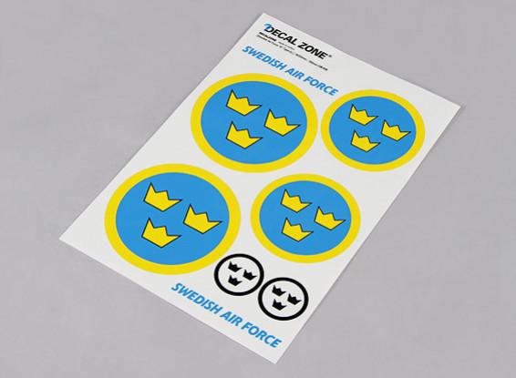 Scala nazionale Air Force Insignia Sticker Sheet - Svezia (Large)