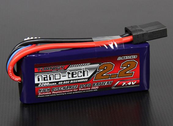 Turnigy nano-tech 2200mah 2S 40 ~ 80C Lipo Pack (TRA2820 Traxxas compatibile 1/16 modelli)