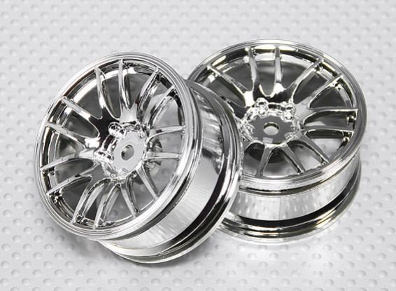 Scala 1:10 Wheel Set (2 pezzi) Chrome Split 7 razze RC Auto 26 millimetri (3 mm di offset)