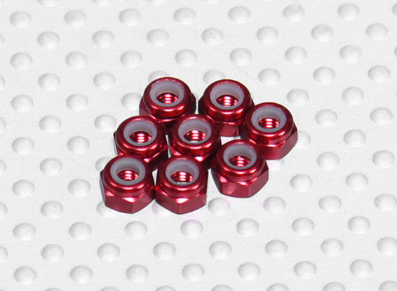 Red alluminio anodizzato M3 Nylock Nuts (8pcs)