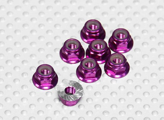 Viola alluminio anodizzato M4 Nylock Wheel Nuts w / seghettato flangia (8pcs)
