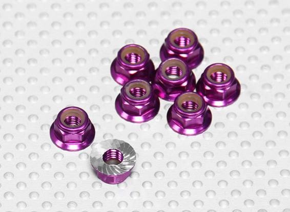 Viola alluminio anodizzato M5 Nylock Wheel Nuts w / seghettato flangia (8pcs)