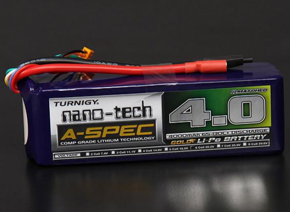 Turnigy nano-tech A-Spec 4000mAh 6S 65 ~ 130C Lipo Confezione