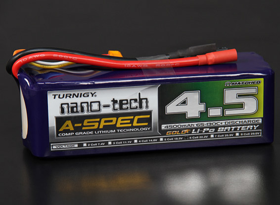 Turnigy nano-tech A-Spec 4500mAh 6S 65 ~ 130C Lipo Confezione