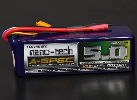 Turnigy nano-tech A-Spec 5000mAh 6S 65 ~ 130C Lipo Confezione