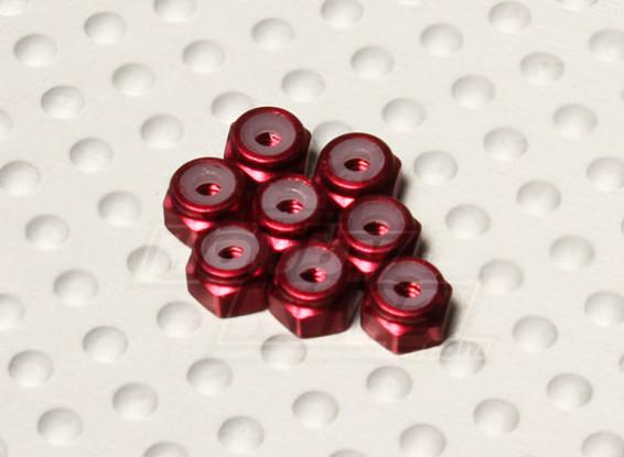 Red alluminio anodizzato M2 Nylock Dadi (8pcs)