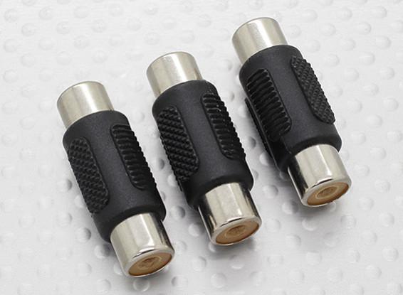 RCA femmina a RCA femmina A / V accoppiatore adattatore (3pc)