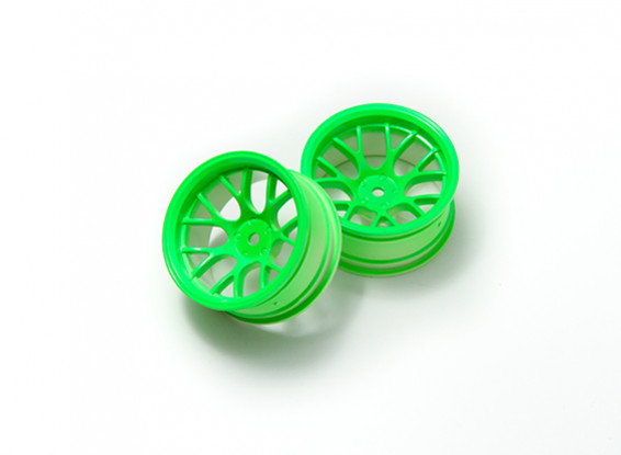 01:10 Wheel Set 'Y' a 7 razze fluorescente verde (9mm offset)