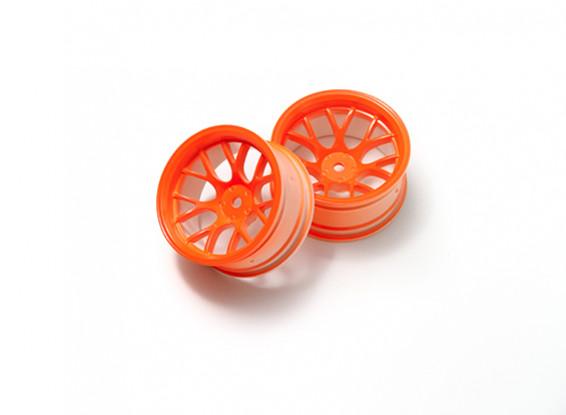 01:10 Wheel Set 'Y' a 7 razze fluorescente arancione (9mm offset)