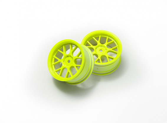 01:10 Wheel Set 'Y' a 7 razze gialla fluorescente (3mm Offset)