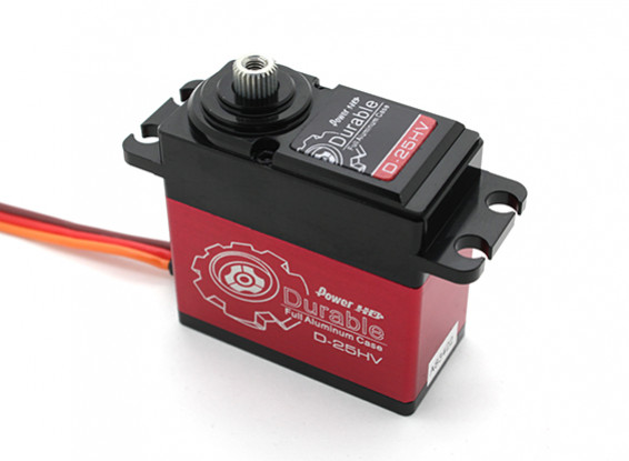 Potenza HD resistente D-25HV alta tensione Digital Servo w / titanio ingranaggi in lega di 25kg / 75g / .16sec