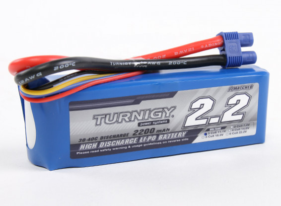 Turnigy 2200mAh 3S 30C Lipo Pack con spina EC3 (E-Flite EFLB21003S compatibile)