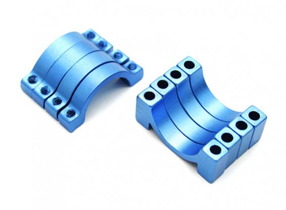 Blu anodizzato CNC morsetto del tubo in lega di semicerchio (incl.screws) 16 millimetri
