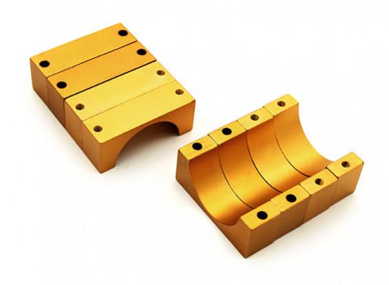 Anodizzato oro doppio 10 millimetri Sided di alluminio di CNC del tubo morsetto diametro 22mm (Set di 4)