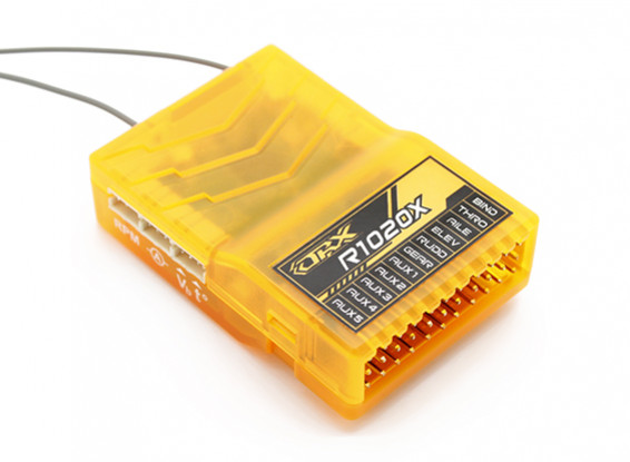 OrangeRx R1020X 10CH 2.4GHz DSM2 / DSMX CompFullRangeRx w / SatDivAnt, F / S & CPPM