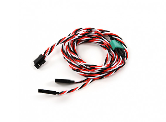 Ala Servo connettore 2xMale / 2xFemale Futaba con D-0953 MPX 900 millimetri di lunghezza (2 pezzi)