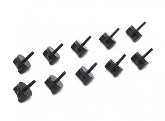 Nylon Viti pollice con acciaio Alberi M2 x 15mm Nero (10pc)