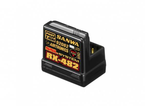 Sanwa / Airtronics RX-482 2.4GHz 4CH FHSS4 Super ricevitore a risposta w / Sanwa sincronizzato Link (SSL)
