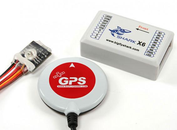 Shark X6 multi-rotore Flight Control e sistema di pilota automatico w / GPS