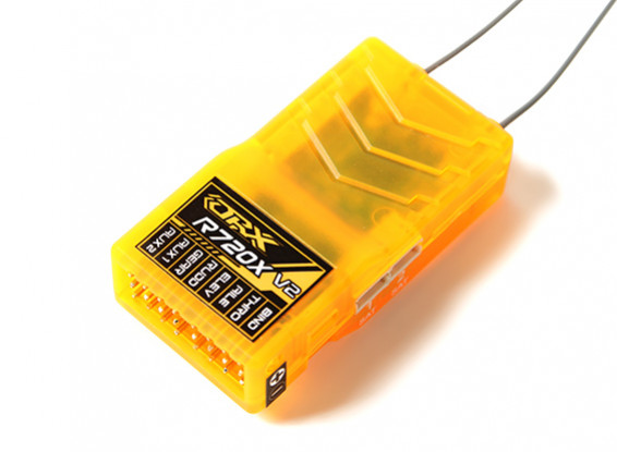 OrangeRx R720X V2 7CH 2.4GHz DSM2 / DSMX Comp Full Range Rx w / Sat, Div Formica, F / Safe & SBUS