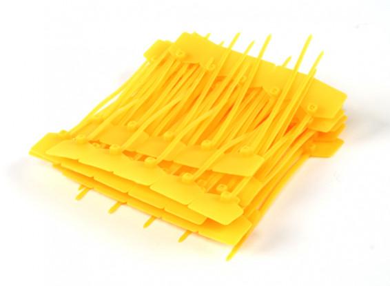 Fascette 120 millimetri x 3 mm di colore giallo con Marker Tag (100pcs)