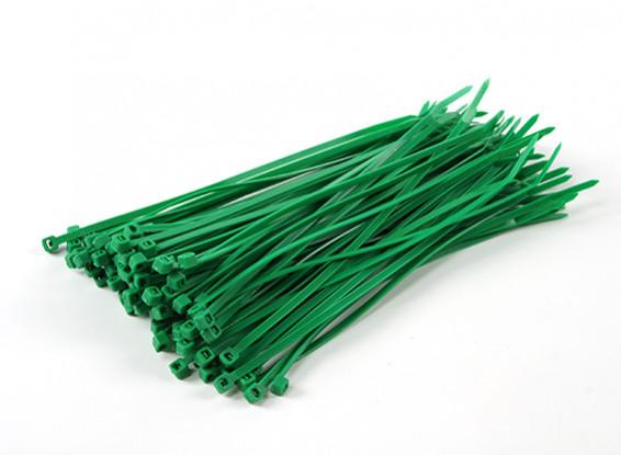 Fascette 150 millimetri x 3 mm Verde (100pcs)