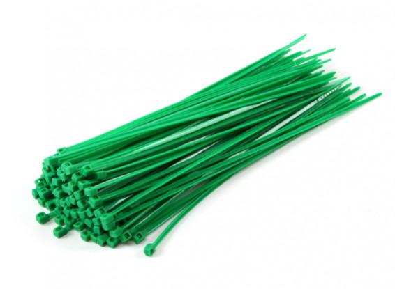 Fascette 160 millimetri x 2,5 millimetri verde (100pcs)
