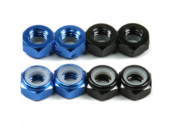 Alluminio a basso profilo Nyloc Dado M5 (4 Nero CW e 4 Blu CCW)