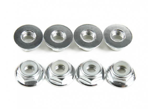 Basso profilo in alluminio flangia Nyloc Dado M5 Argento (CW) 8pcs