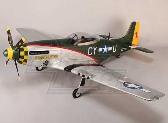 P-51D Gunfighter 1600 millimetri EPO w / ritrae elettrici, flaps, Luci (PNF)