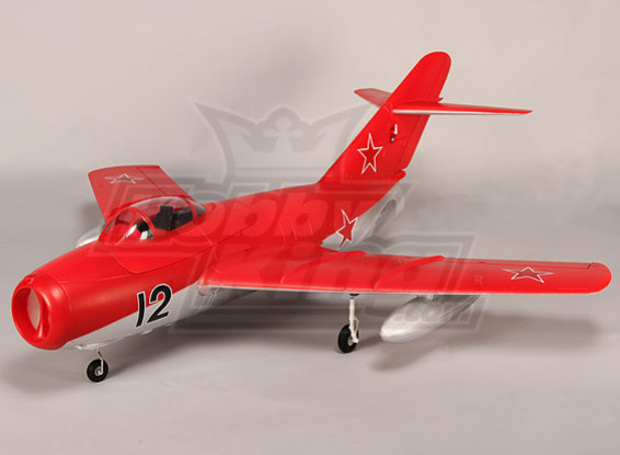 Mig-15 EDF Jet 70 millimetri Retracts elettrici, flaps, Airbrake, EPO Rosso (PNF)