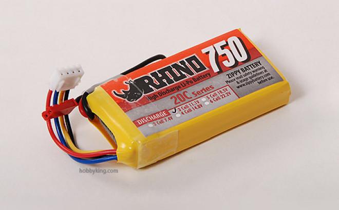 Rhino 750mAh 3S 11.1V 20C Lipoly Confezione