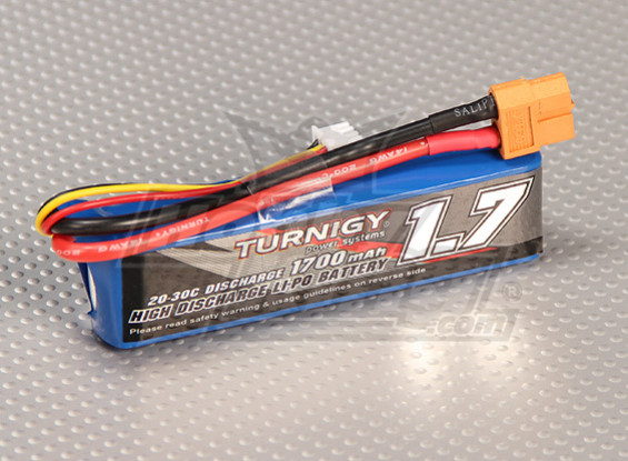 Turnigy 1700mAh 2S 20C Lipo Pack (Suits 1/16 ° del mostro Beatle, SCT & Buggy)