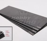Tessuto in fibra di carbonio foglio 300x100 (2.0mm di spessore)