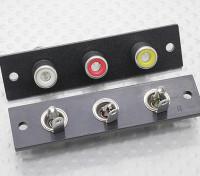 Triple RCA Socket Board (rosso / giallo / bianco) 2pc