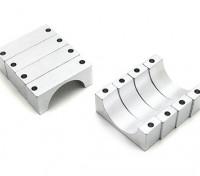 Tubo d'argento anodizzato CNC semicerchio lega Clamp (incl.screws) 22mm (doppio 10 millimetri retro)