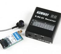 Aomway 5.8G 500mW Video Tx, Rx RX04 e linee 600TV CMOS 5V set fotocamera (NTSC 2) w / o DVR