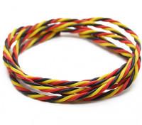 Ritorto 22 AWG Servo filo rosso / nero / colore giallo (1mtr)