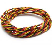 Ritorto 22 AWG Servo filo rosso / nero / colore giallo (2mtr)