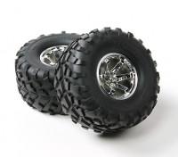 Dipartimento Funzione Pubblica ® ™ 1/10 Crawler 132 millimetri ruote e pneumatici (argento Rim) (2 pezzi)