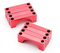 Tubo rosso anodizzato CNC semicerchio lega Clamp (incl.screws) 28 millimetri