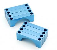Tubo blu anodizzato CNC semicerchio lega Clamp (incl.screws) 28 millimetri