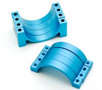 Blu anodizzato CNC morsetto del tubo in lega di semicerchio (incl.screws) 20 millimetri