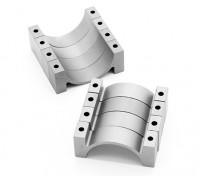 Argento anodizzato CNC morsetto del tubo in lega di semicerchio (incl.screws) 20 millimetri