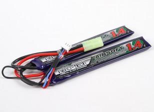 Turnigy nano-tech 1400mAh 2S 15 ~ 25C Lipo AIRSOFT Confezione